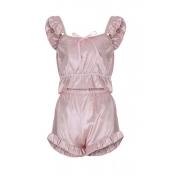 Lovely Leisure Fold Design Light Pink Sleepwear
