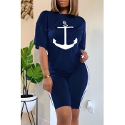 Lovely Casual O Neck Print Deep Blue Two-piece Sho