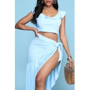 Lovely Sexy Ruffle Design Side Split Baby Blue Two