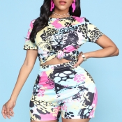 Lovely Chic Print Multicolor Two-piece Shorts Set