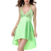 Lovely Sexy Lace Patchwork Green Babydolls