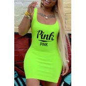 Lovely Casual U Neck Letter Yellow Mini Plus Size