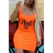 Lovely Casual U Neck Letter Orange Mini Plus Size