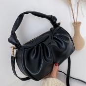 Lovely Trendy Zipper Design Black Crossbody Bag