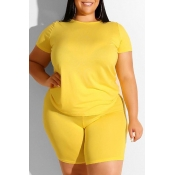 Lovely Leisure Basic Yellow Plus Size Two-piece Sh