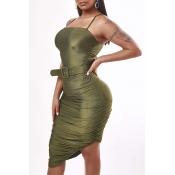 Lovely Sexy Fold Design Asymmetrical Green Knee Le