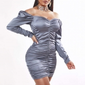 Lovely Sexy Fold Design Grey Mini Dress
