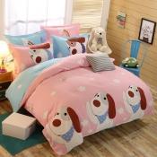Lovely Cosy Cartoon Print Pink Bedding Set