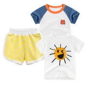 Lovely Casual Striped Print Yellow Boy Two-piece S