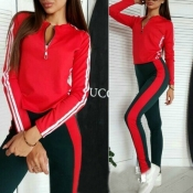 Lovely Trendy Patchwork Red Loungewear