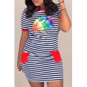 Lovely Casual O Neck Striped Print Red Mini T-shir