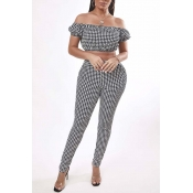 Lovely Trendy Dew Shoulder Grid Black Two-piece Pa