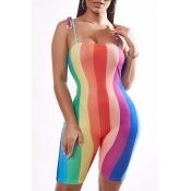 Lovely Trendy Rainbow Striped Multicolor One-piece