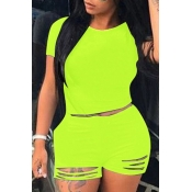 Lovely Trendy Hollow-out Green Plus Size Two-piece