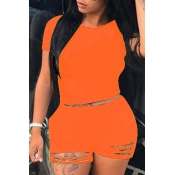 Lovely Trendy Hollow-out Orange Plus Size Two-piece Shorts Set