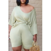 Lovely Leisure Fold Design Green Plus Size Two-piece Shorts Set