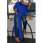 Lovely Casual Side High Slit Blue Plus Size Blouse