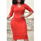 Lovely Trendy Fold Design Red Knee Length Plus Siz