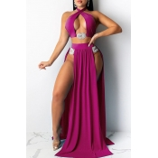 Lovely Cut-Out Rose Red Two-piece Swimsuit(Three-p