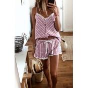 Lovely Leisure Striped Pink Sleepwear