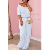 Lovely Casual Basic White Maxi Dress