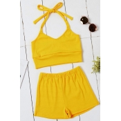 Lovely Stylish Lace-up Yelllow Two-piece Shorts Se