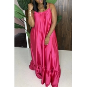 Lovely Leisure Loose Rose Red Maxi Dress