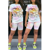 Lovely Casual Cartoon Print Pink Two-piece Shorts Set