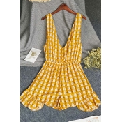 Lovely Sexy Print Yellow One-piece Romper
