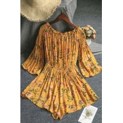 Lovely Bohemian Print Yellow One-piece Romper