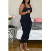 Lovely Casual Basic Skinny Blue Plus Size One-piec