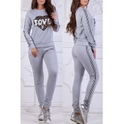 Lovely Sportswear Patchwork Grey Loungewear
