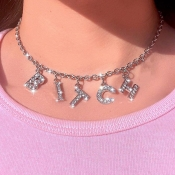 Lovely Trendy Letter Silver Necklace