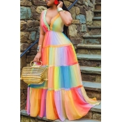 Lovely Trendy Rainbow Striped Multicolor Maxi Dres