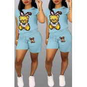 Lovely Casual Cartoon Print Baby Blue Two-piece Sh