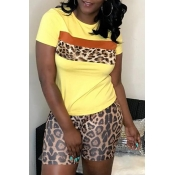 Lovely Casual Print Yellow Two-piece Shorts Set