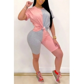 Lovely Casual O Neck Patchwork Pink Two-piece Shorts Set