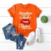 Lovely Casual Letter Print Orange T-shirt