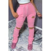 Lovely Leisure Hollow-out Pink Pants