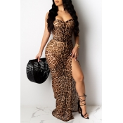 Lovely Sexy Backless Brown Maxi Dress