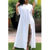 Lovely Casual Side Slit White Ankle Length Dress