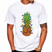 Lovely Leisure O Neck Pineapple Print White T-shir