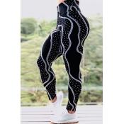 Lovely Sportswear Print Black Plus Size Pants