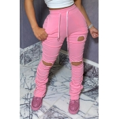 Lovely Sportswear Hollow-out Pink Pants