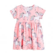 Lovely Casual Print Pink Girl Knee Length Dress