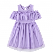 Lovely Sweet Hollow-out Purple Girl Knee Length Dr