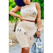 Lovely Casual Letter Beige Two-piece Skirt Set