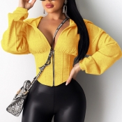 Lovely Trendy Zipper Design Yellow Hoodie