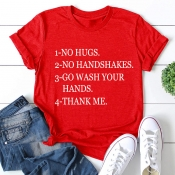 Lovely Leisure O Neck Letter Print Red Plus Size T-shirt