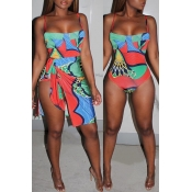 Lovely Print Multicolor One-piece Swimsuit(With Cover-up)